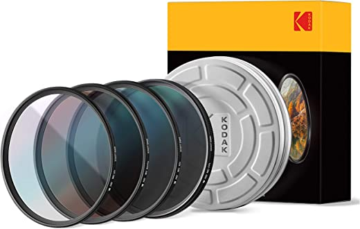 مجموعة فلتر الزجاج Schott 67 مم من KODAK | عبوة من 4 قطع للأشعة فوق البنفسجية وCPL، وND4 وفلاتر تدفئة لمختلف التأثيرات | مطلية بالنانو متعدد الطبقات 16 طبقات | حافظة كلاسيكية ودليل صغير | فوتوجير +