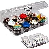 Angoily 10 Piezas de Pl/ástico Transparente Mini Caja de Pastel Contenedor de Pastel /Único Cupcake Biscuit Postre Caja de Muffins de Pl/ástico Transparente Portador de Domo Dorado