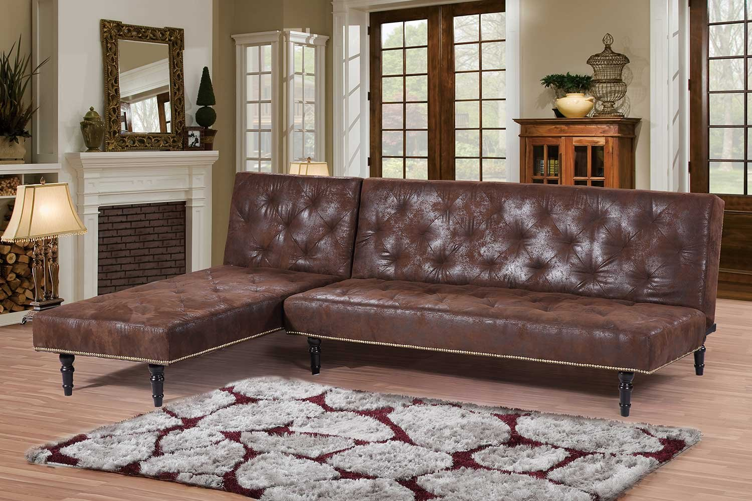 Nice New Victorian Antique Style Brown Faux Leather Suede L Shaped Corner 4  Seater Charles Sofa Bed With Universal Chaise Longue: Amazon.co.uk: Kitchen  U0026 Home