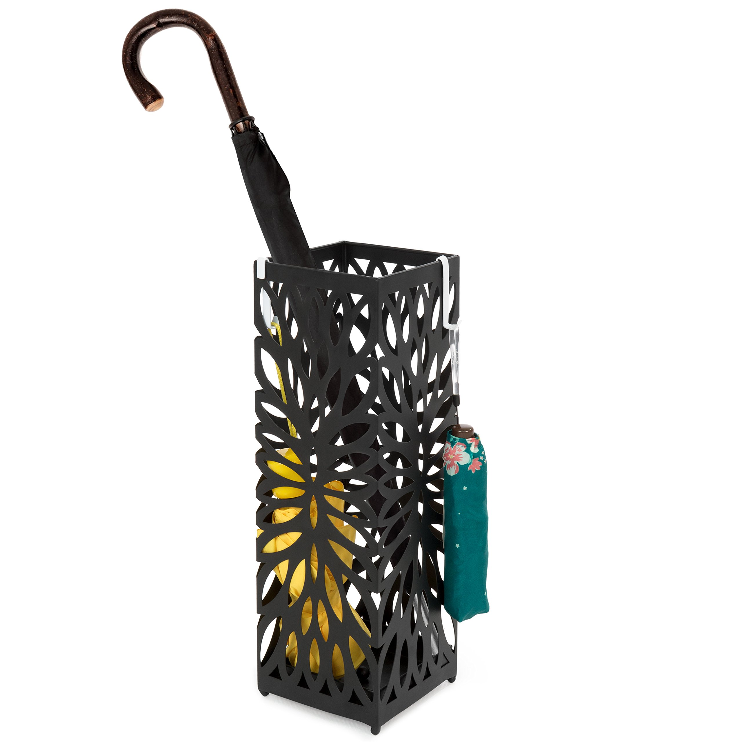 Best Choice Products Modern Square Metal Entryway Umbrella Storage Stand with 2 Hooks, Drain Tray, Floor Protection, Black by Best Choice Products