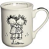 Enesco Children of the Inner Light Sisters Hugging Stoneware Gift Mug, 16 oz.