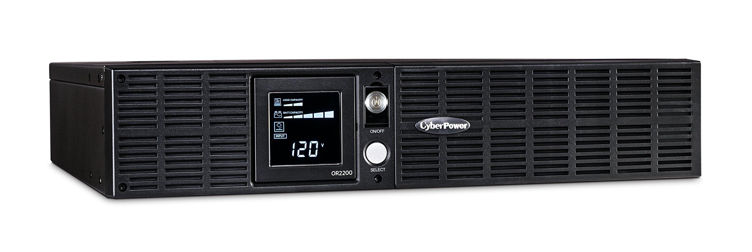 CyberPower OR2200LCDRT2U Smart App LCD UPS System, 2200VA/1320W, 8 Outlets, AVR, 2U Rack/Tower by CyberPower