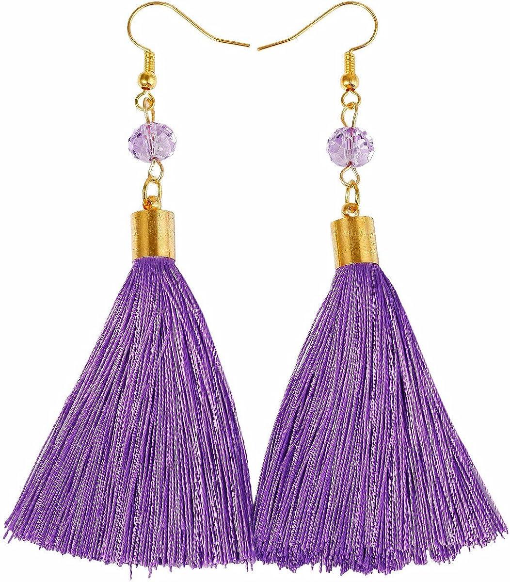 Purple Bead Dangle Earrings