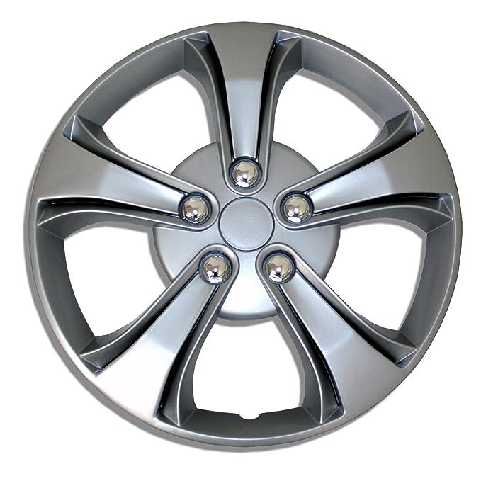 tuningpros wc-14 - 616-s 14-inches-silver mejorado piel cubierta de la rueda tapacubos conjunto de 4: Amazon.es: Coche y moto
