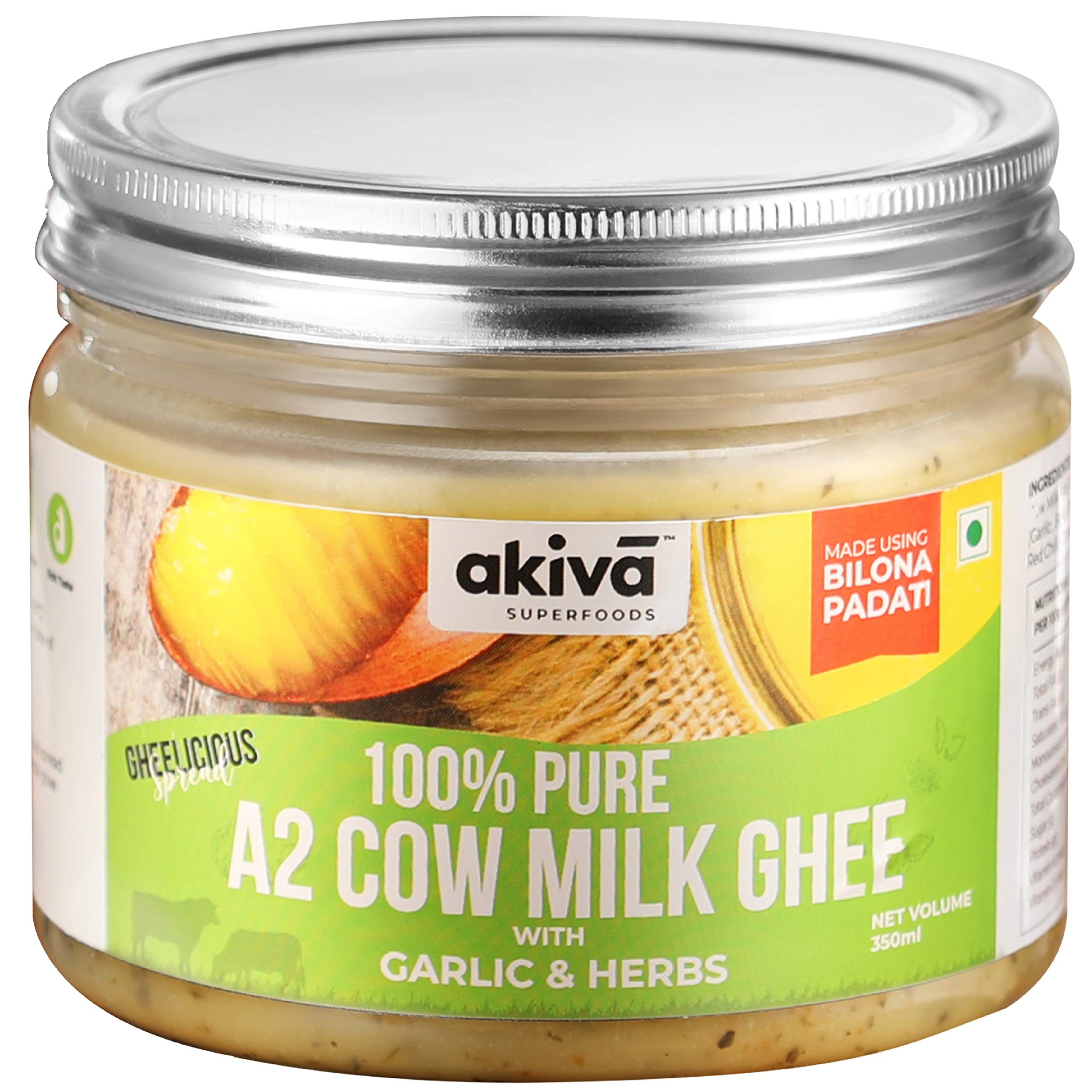A2 Cow Ghee from Grass-Fed Desi Sahiwal Cow's Milk, 350 ml - Garlic and Herbs Flavour - Made from Curd by Traditional Vedic Bilona Padati Method - Non GMO - Gluten Free - For Keto Friendly Diet by Akiva Superfoods (B07XZD8CNM) Amazon Price History, Amazon Price Tracker