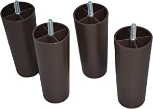 Recliner-Handles Replacement Furniture Legs 5 Inches (Set of 4) Plastic - Brown