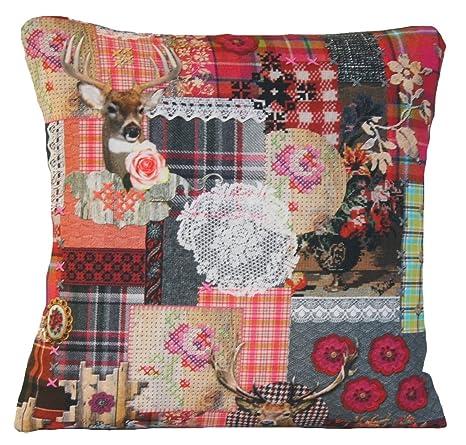 Estimados y de cojín gris y rosa rojo Floral funda almohada ...