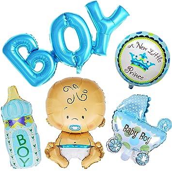 Ouinne 5 Piezas Bebé Globos Helio de Bautizo Bebé Ducha para Fiestas de Cumpleanos, Baby Showers (Chico)