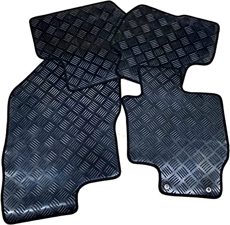 Connected Essentials 5031663 Tailored Heavy Duty Custom Fit Car Mats for Sharan Mk3 Round Clips Premium Black with Red Trim 2010-