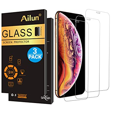 Ailun Screen Protector Compatible I Phone X/Xs,I Phone 10,[3 Pack],Full Coverage, 2.5 D Edge Tempered Glass For I Phone X/10/Xs[5.8inch],Anti Scratch,Bubble Free,Siania Retail Package by Ailun