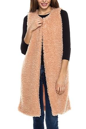 Amazon.com: KLKD B008 Women's Faux Fur Open Front Long Line ...