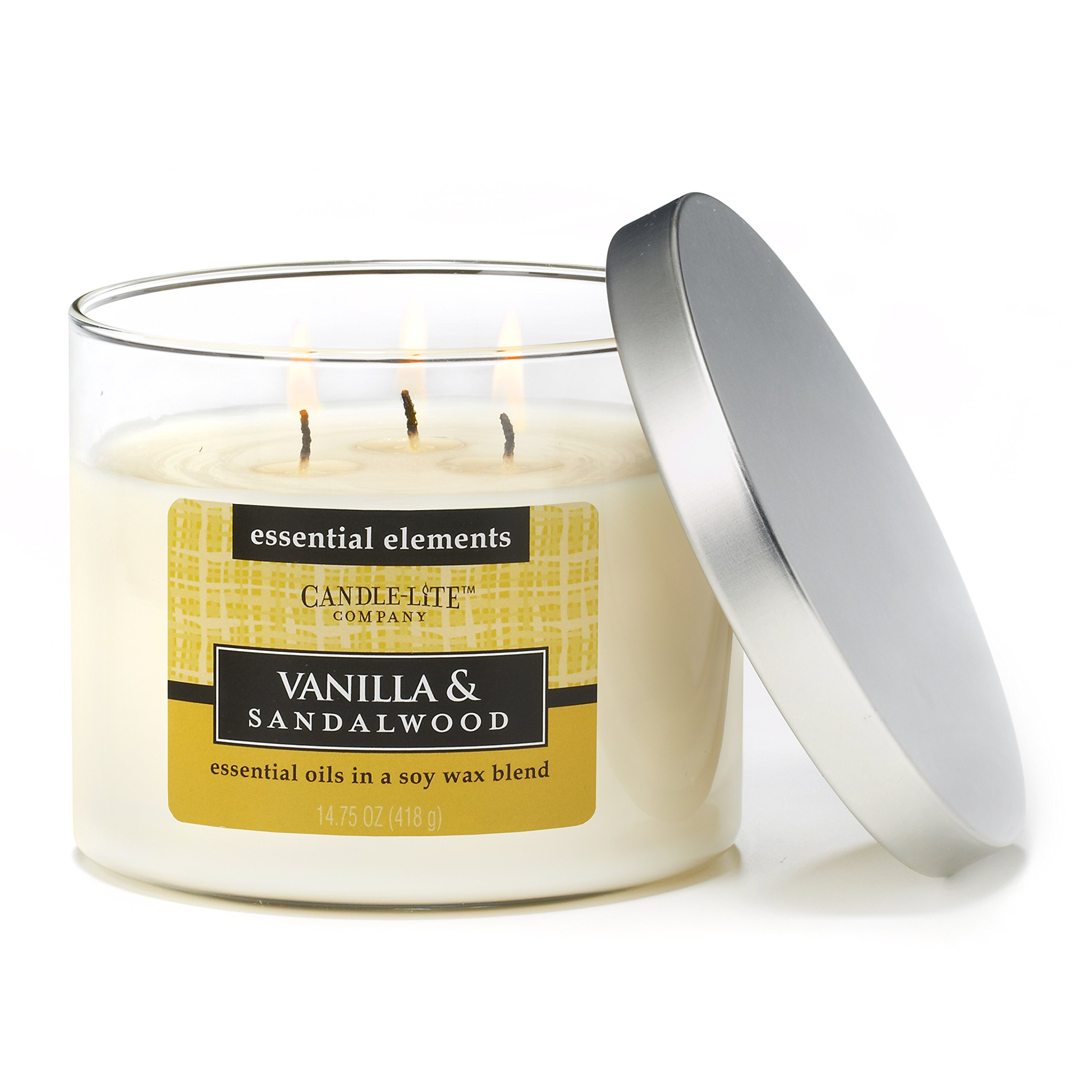 Candlelite Essential Elements 14-3/4-Ounce 3 Wick Candle with Soy Wax, Vanilla and Sandalwood by Candlelite (Image #1)