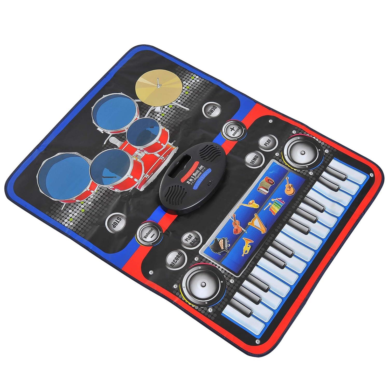 HOMCOM Alfombra Musical de Juego Tapete Musical Piano y Baterí a 2 en 1 para Niñ os +3 Añ os Alfombra de Teclado Tá ctil 90x69cm SPANISH AOSOM