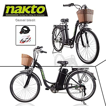 """10a67e867cc NAKTO Adult Electric Bicycles Ebikes for Women 26"""" Electric Bike Comes  a Detachable 36V 10Ah"""