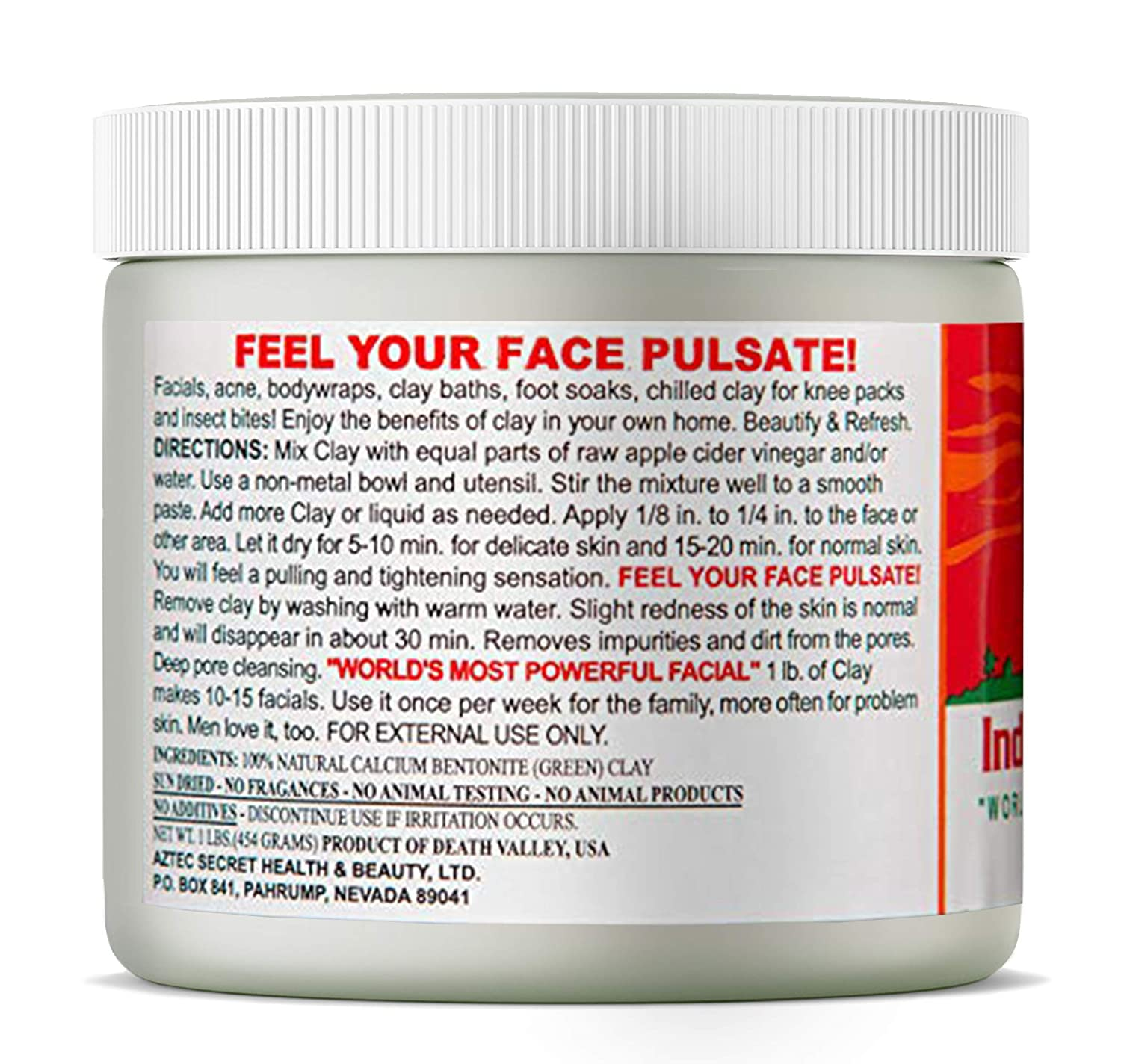 Aztec Secret Indian Healing Clay Facial Treatment, Body Mask Deep Pore Cleansing 1 Pound