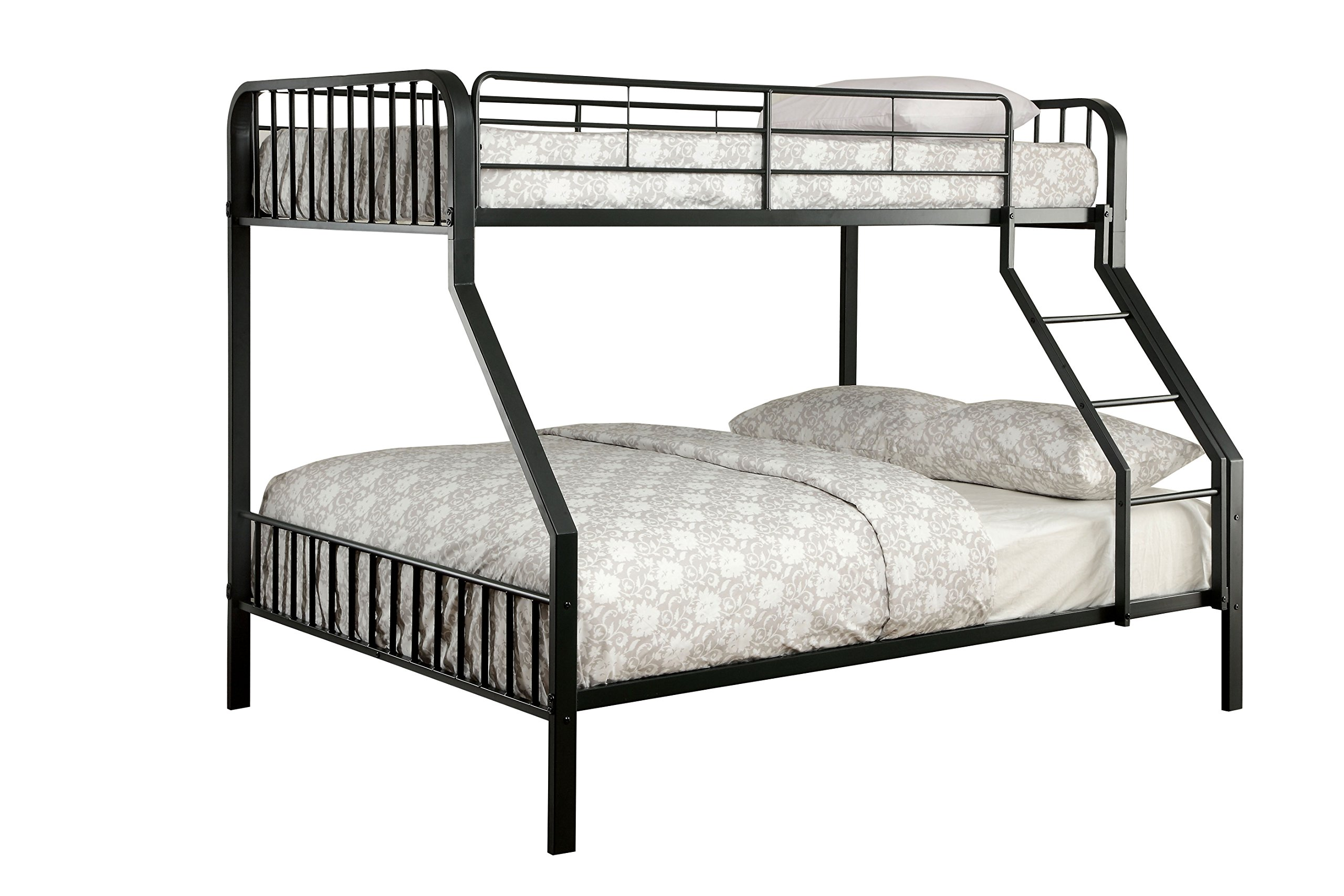 Furniture of America Colton Modern Metal Bunk Bed, Twin/Full, Black by Furniture of America