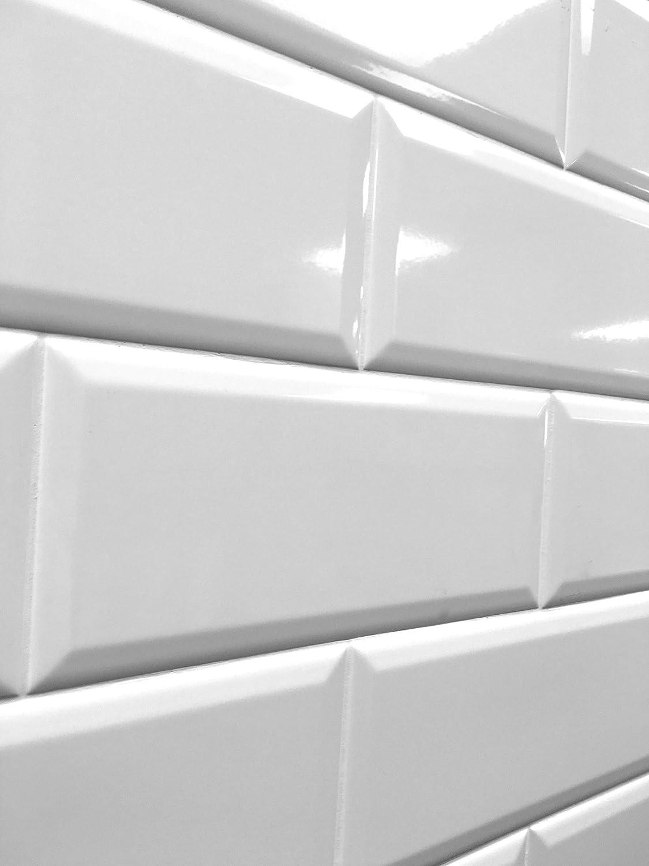 Amazon 4x10 white glossy finish beveled ceramic subway tile amazon 4x10 white glossy finish beveled ceramic subway tile shower walls backsplashes 1 piece home improvement dailygadgetfo Choice Image