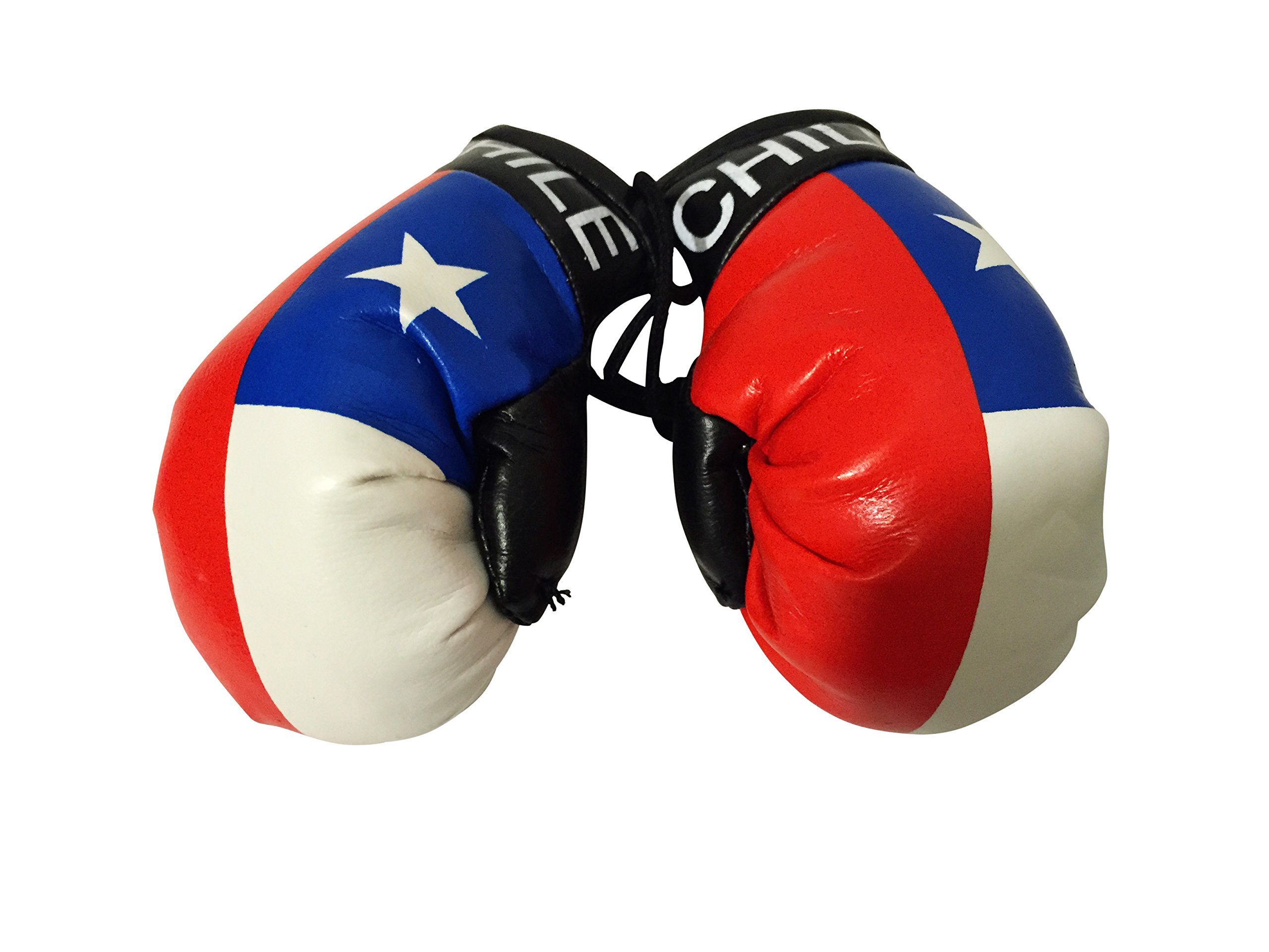 Flag Mini Small Boxing Gloves to Hang Over Car Automobile Mirror – Americas (Country: Chile)