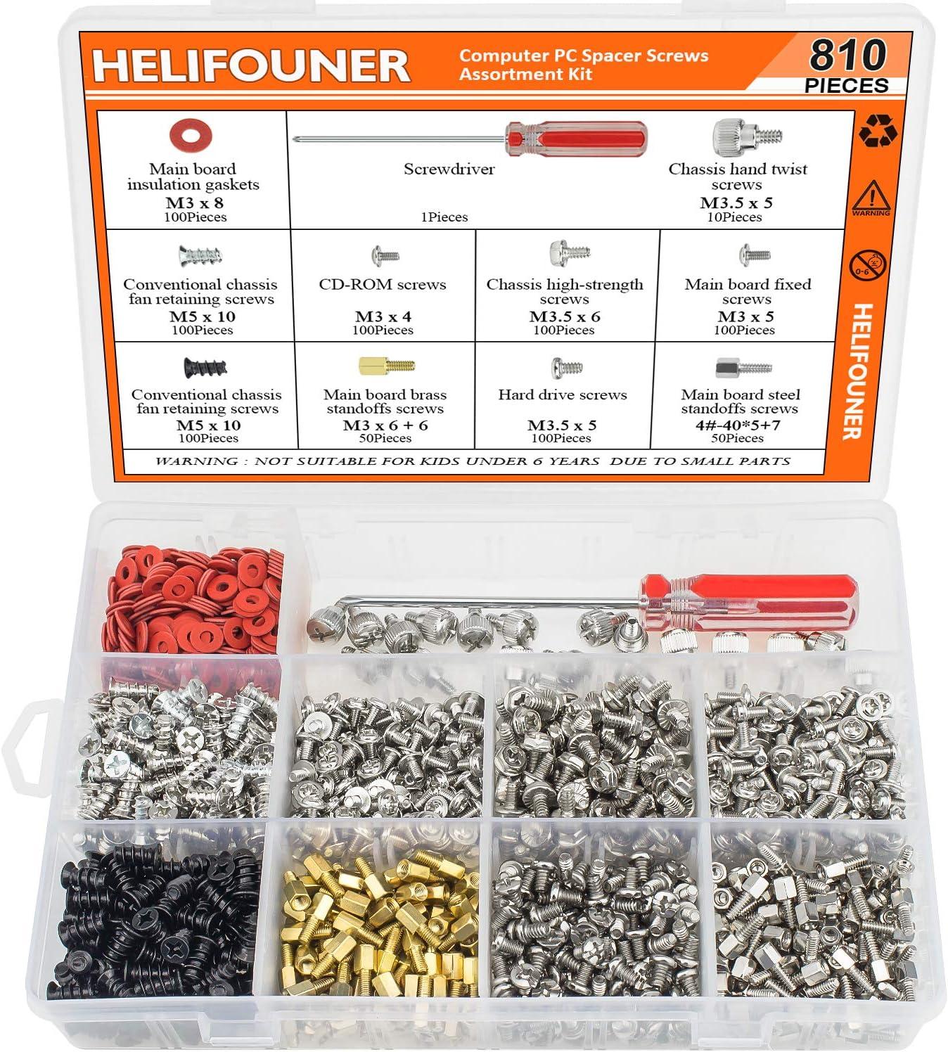 HELIFOUNER 810 Pieces Computer Standoffs Screws Assortment Kit with a Screwdriver