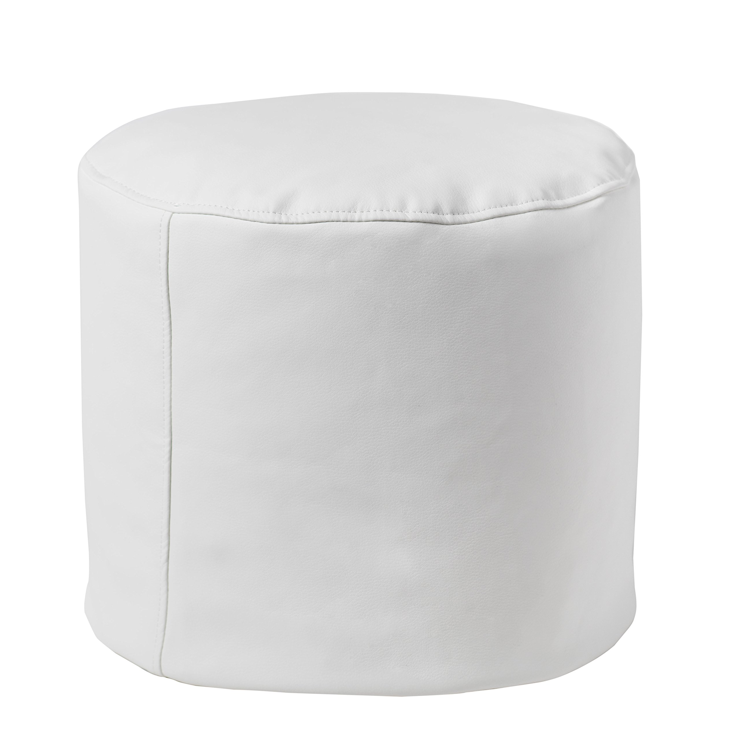 Small Round Ottoman Pouf Foot Stool, Portable White Footstool Perfect For Adults, Kids, and Massage