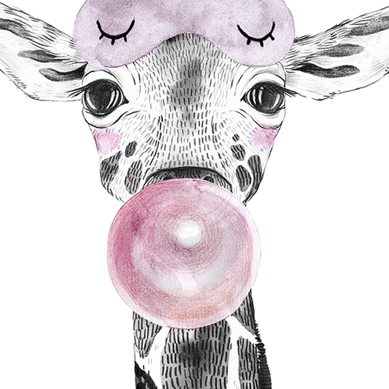Nacnic L/ámina Girafa Infantil con Chicle Poster animeles Infantiles Tama/ño A3 Enmarcado con Marco Negro