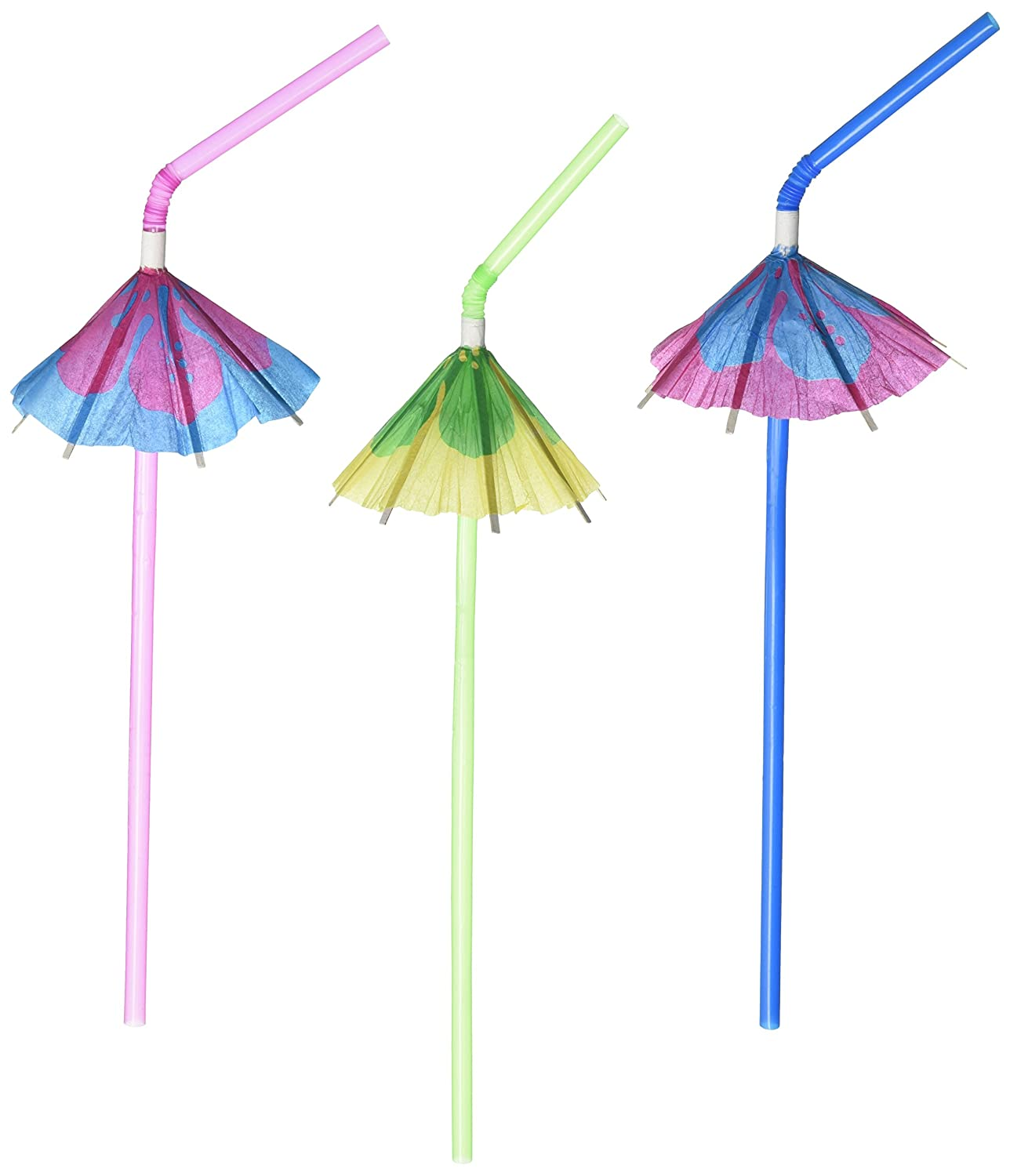 Fun Express Multicolor Tropical Umbrella Straws (Pack of 12) by Fun Express FX IN-34/1268-4dz