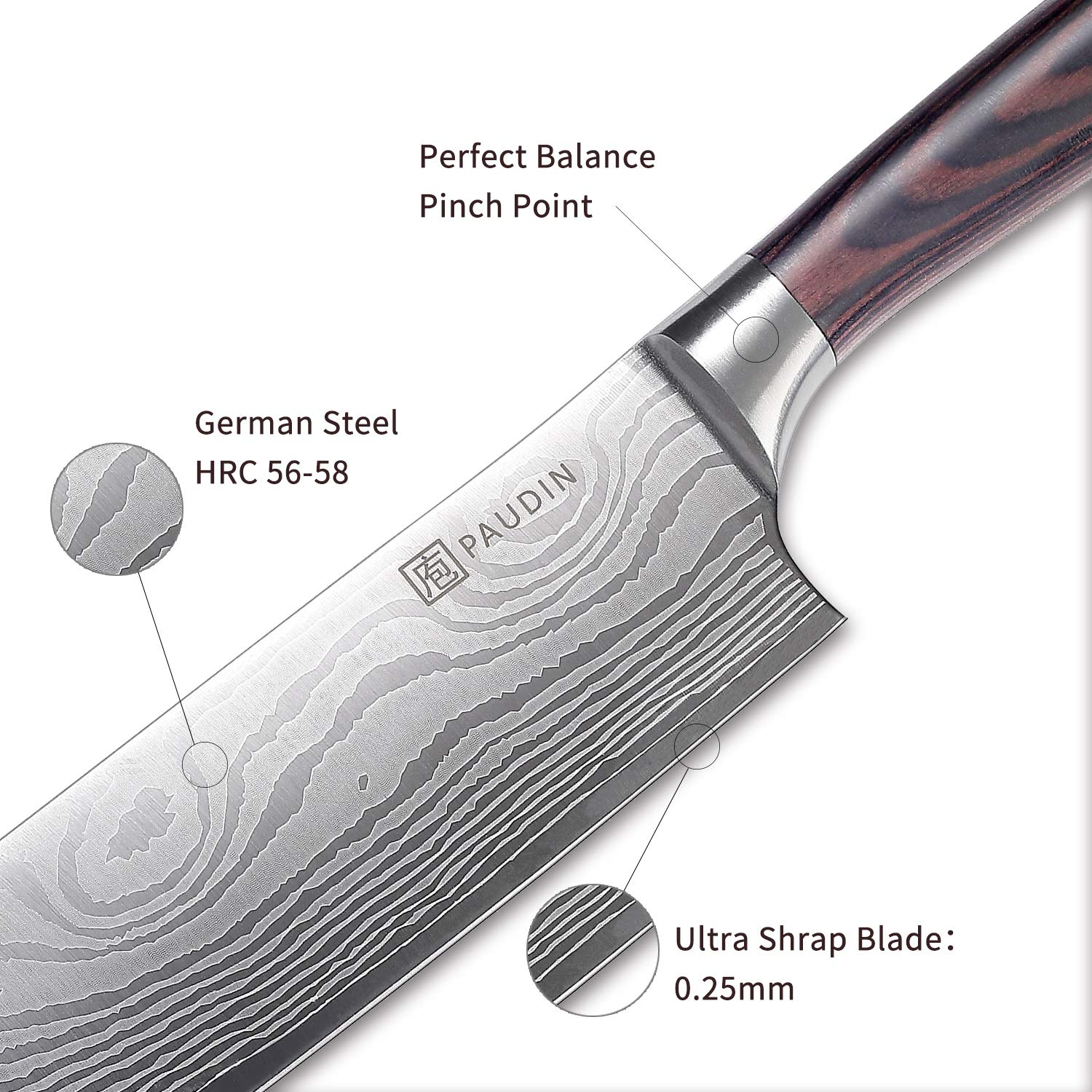 Cleaver Knife - PAUDIN 7 inch Chinese Vegetable Cleaver Kitchen Knife N6 German High Carbon Stainless Steel Meat Cleaver Knife by PAUDIN (Image #4)