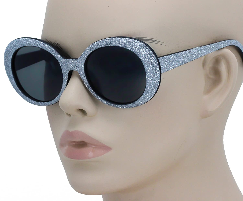 36d75868e9 Amazon.com  Clout Goggles Oval Mod Retro Thick Frame Rapper Hypebeast  Eyewear Supreme Glasses Cool Sunglasses (Black Glitter