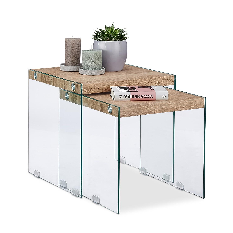 Relaxdays Tavolini Sovrapponibili, Tavoli da Divano per Soggiorno, Marrone Chiaro, Altezza 40-45 cm 10023134