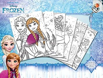 Coloriage La Reine Des Neiges Cuisine.Coloriages La Reine Des Neiges 6 Pieces Colouring Poster Amazon