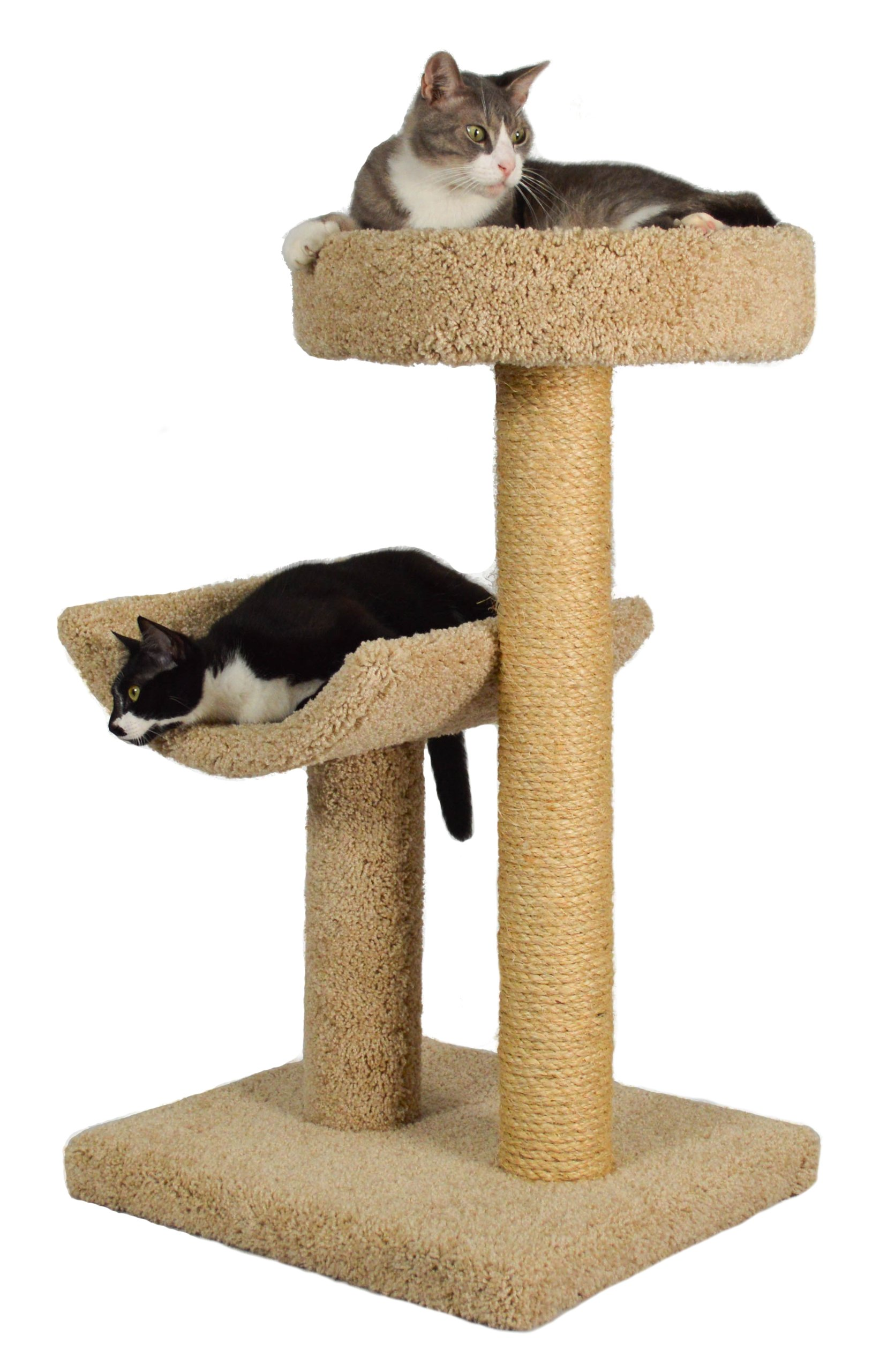 Molly and Friends ''Simple Sleeper'' Premium Handmade 2-Tier Cat Tree with Sisal, Model 23, Beige, Colors May Vary