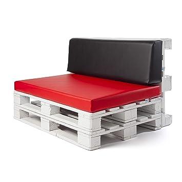 Conjunto colchoneta para sofas de palet Rojo y respaldo Negro (1 x Unidad) Cojin relleno con espuma.   Cojines para chill out, interior y exterior, ...