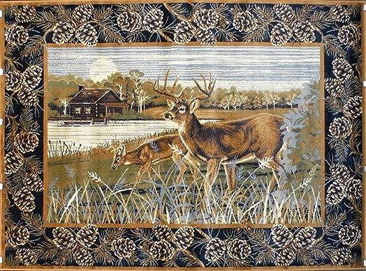 Pro Rugs Wildlife Nature Cabin Lodge Deer Scene Area Rug 7 Feet 7 Inch X 10 Feet 6 Inch