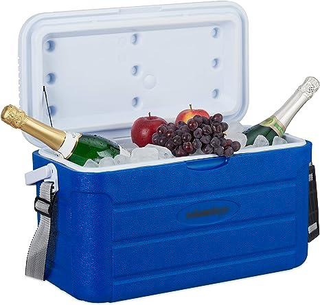 Relaxdays Nevera Portátil, Refrigerador Playa Camping, sin Electricidad, Plástico, 20 l, 29,5 x 52,2 x 26,5 cm, Azul