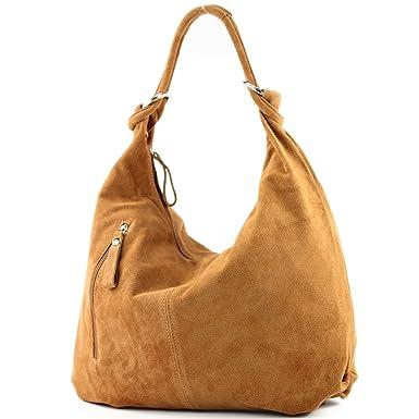 modamoda de - ital. Ledertasche Schultertasche Shopper Damentasche Wildleder Groß T02, Präzise Farbe:Pink modamoda de - Made in Italy
