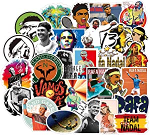 ARPA 50Pcs Tennis Star RafaelNadal Stickers for Laptops Books Cars Motorcycles Skateboards Bicycles Suitcases Skis Luggage Cup Hydro Flasks etc DJKT