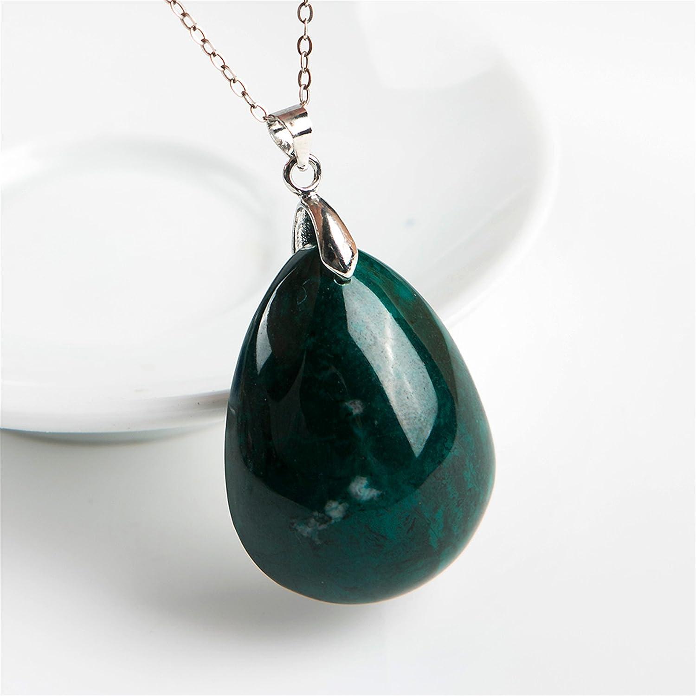 LiZiFang Genuine Green Natural Malachite Chrysocolla Gemstone Crystal Water Drop Pendant