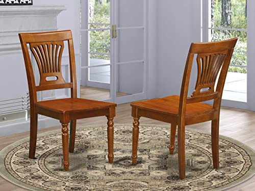 East West Furniture PVC SBR W Plainville dining chair set of 2 Wooden Seat and Saddle Brown Hardwood Frame dining room chair