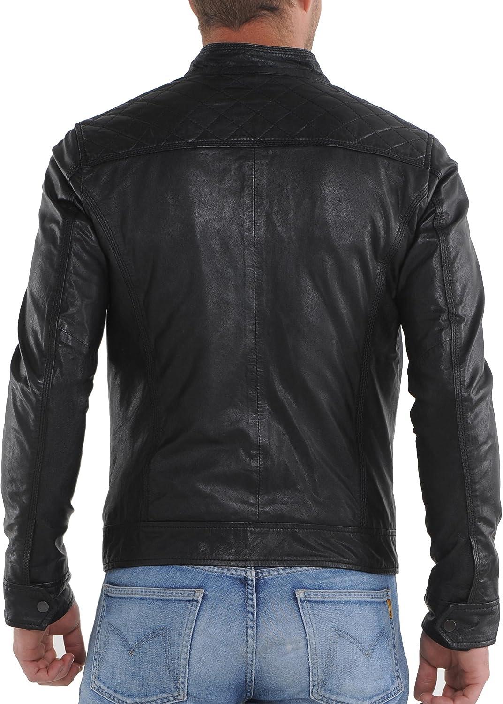 Kingdom Leather New Men Motorcycle Black Lambskin Leather Jacket ...