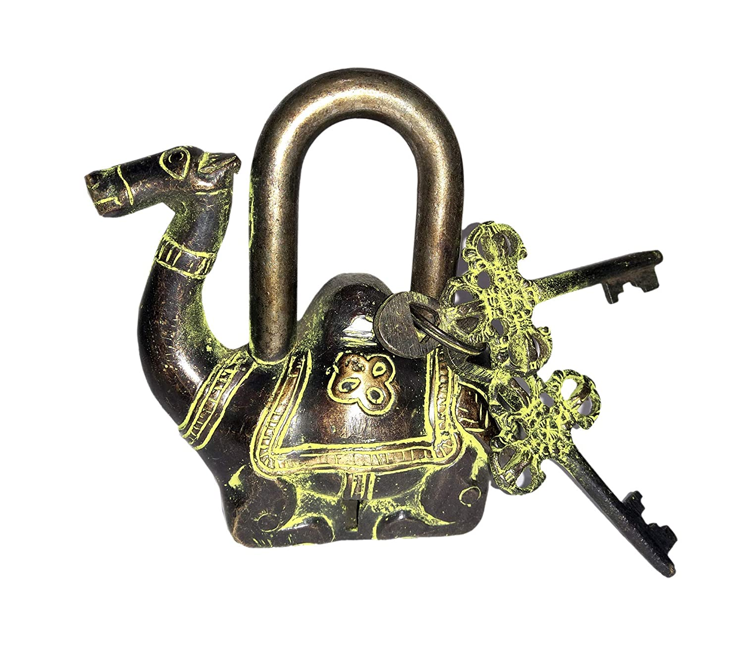 Handmade Antique Design Laxman Art Fish Shaped Brass Lock Padlock Unique Collectible Combination of Style /& Security with 2 Keys