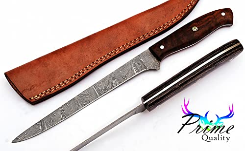 Custom Handmade Damascus Steel Fillet Knife With Beautiful Handles