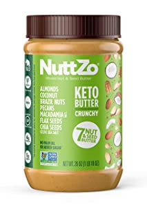 NuttZo KETO Nut Butter - 7 mixed nuts and seeds, fat bomb, high fat, low carb, paleo, whole30, vegan - Crunchy, 26 Ounce