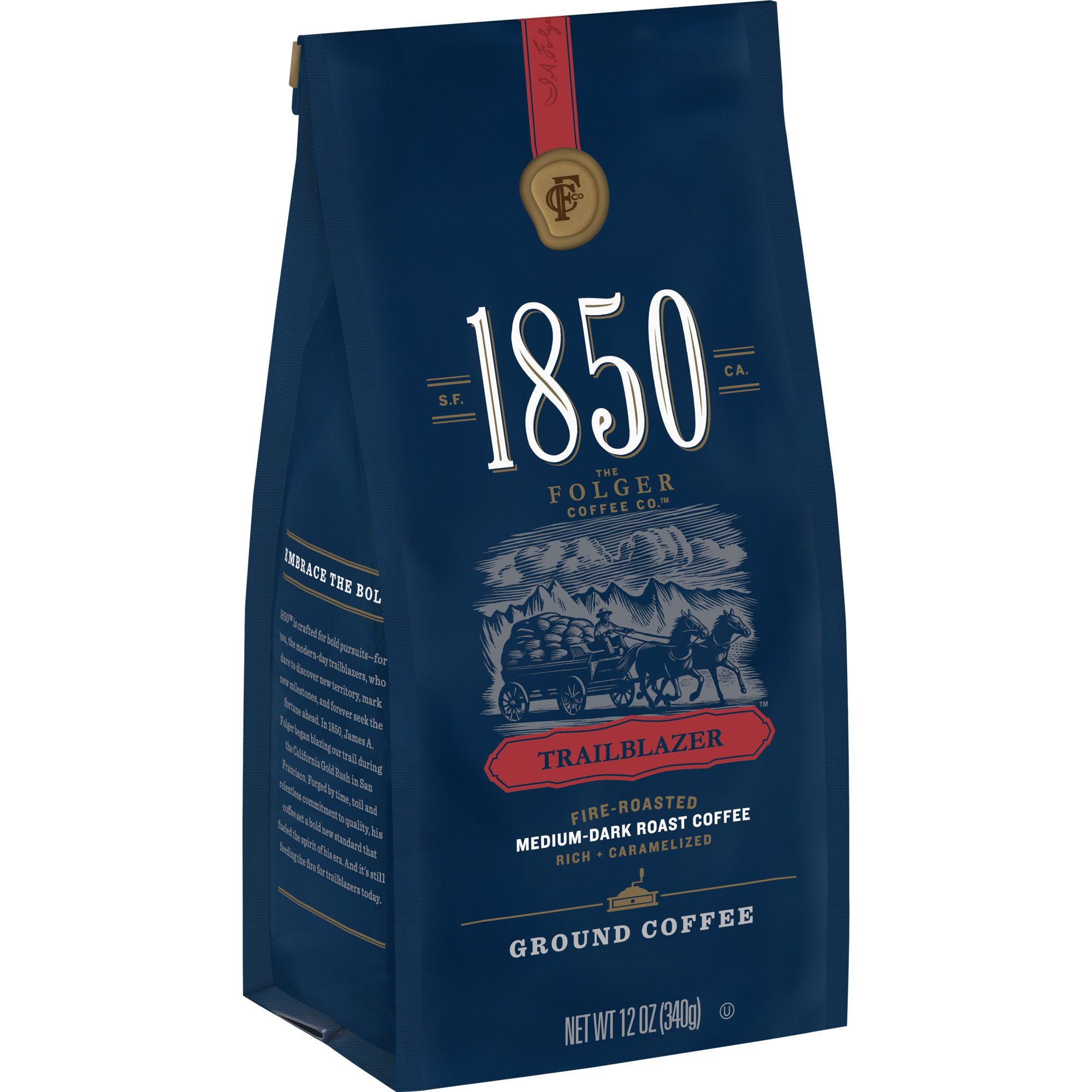 1850 Trailblazer, Medium-Dark Roast Ground Coffee, 12 Ounces (Pack of 6)
