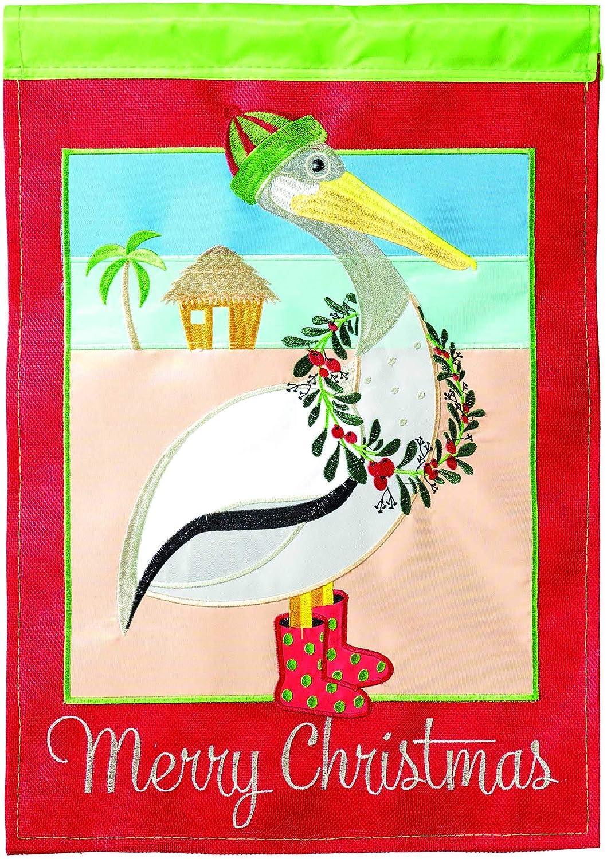 Magnolia Garden Christmas Pelican Festive Beach 13 x 18 Small Double Applique Outdoor Holiday House Flag