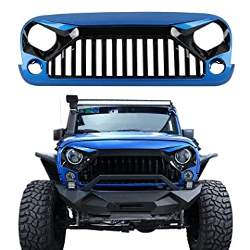 jeep rubicon 2014 black. ubox gloss blackpainted hydro blue vader gladiator front grille for 2014 2015 jeep rubicon black