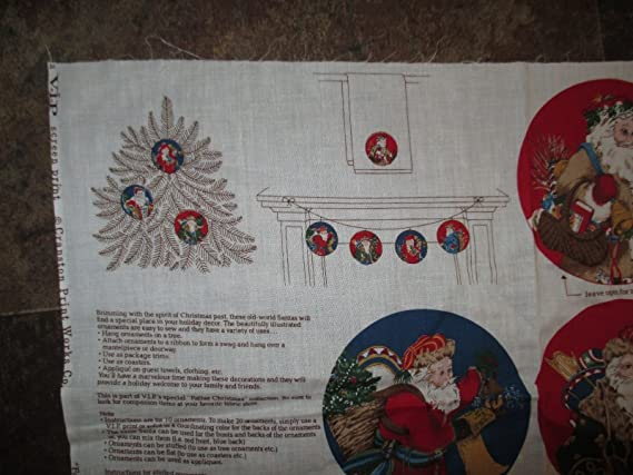 Amazon.com: Father Christmas Ornaments Fabric Panel - 1980s ...