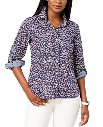 0e4584304 Tommy Hilfiger Women's Cotton Printed Roll-Tab Utility Shirt (Sky Captain  Floral, Medium
