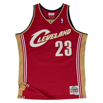 buy popular f7eb1 a3646 Lebron James Cleveland Cavaliers Mitchell and Ness Men's Red Throwback Jesey