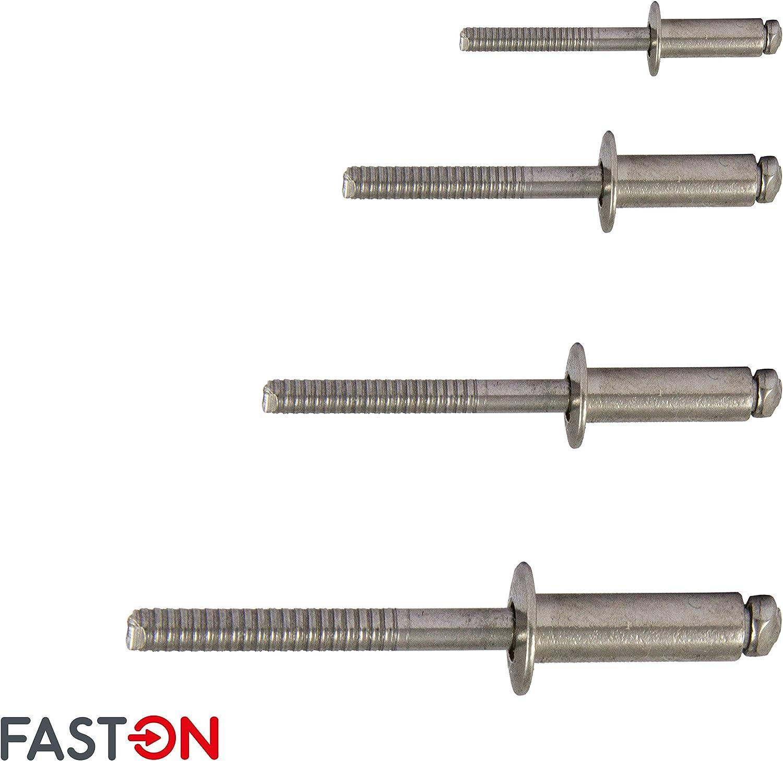 FASTON Blindniet 4,0x8 mm mit Flachkopf Edelstahl A2 V2A 50 St/ück DIN 7337 Nieten Niet Popnieten Flachkopfnieten rostfrei