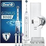 Oral-B 欧乐B 博朗 Genius 9000 多动向可充电电动牙刷,1白色充电刷柄,4刷头,1 USB旅行盒英国双针插头